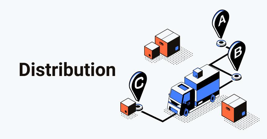 حمل و توزیع محصولات در زنجیره تامین بر عهده توزیع کنندگان در زنجیره تامین است.