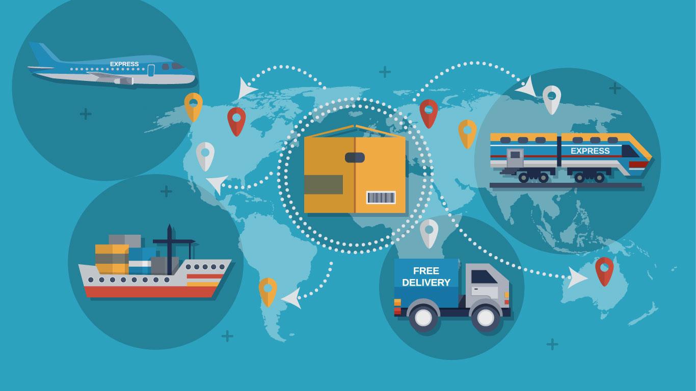 در زنجیره تأمین جهانی از وسایل حملونقل چندوجهی استفاده میشود.